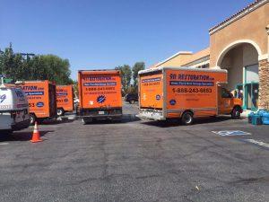 Fleet Of Water Damage Restoration Vehicles